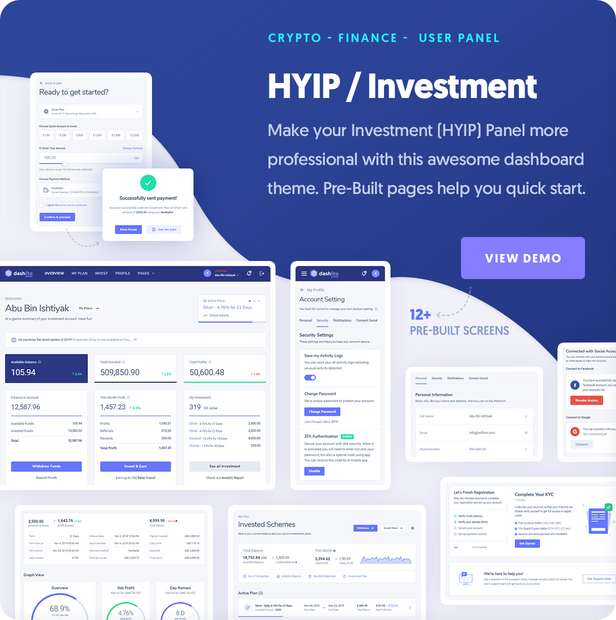 DashLite - Cyrpto Investment, HYIP Investment Dashboard Template