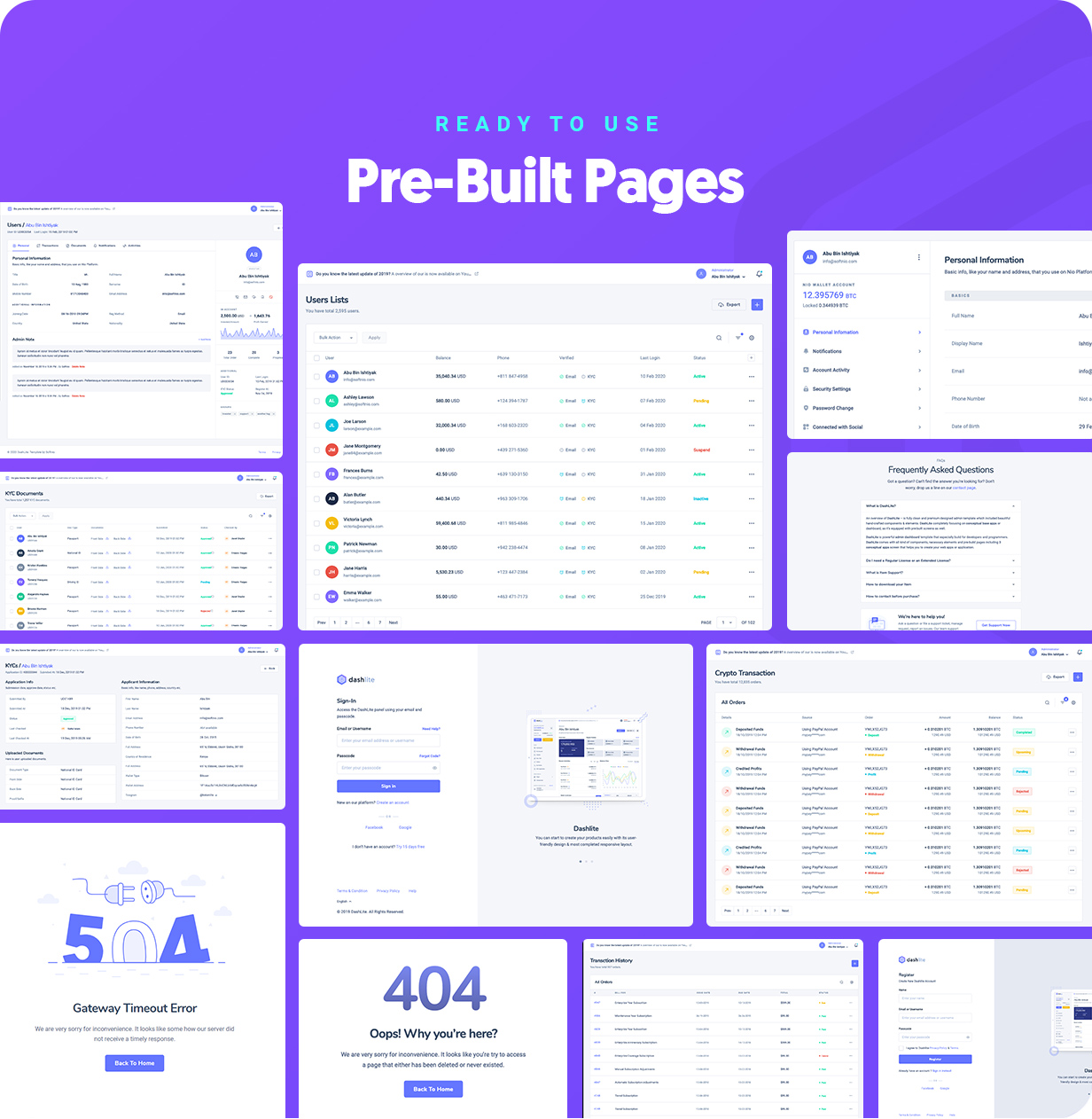 Prebuilt pages for DashLite Admin Dashboard Template