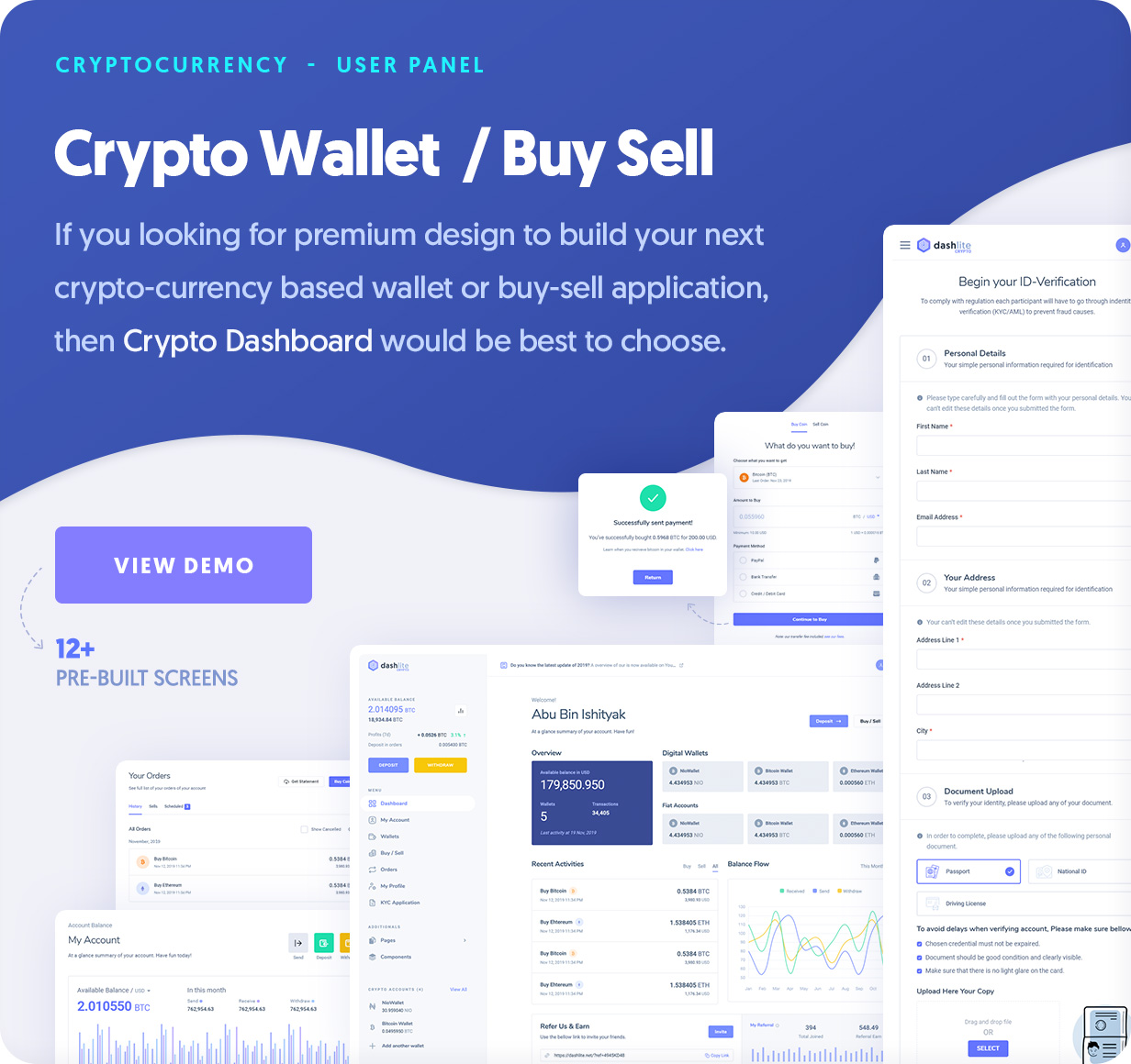 DashLite - Cryptocurrency, Crypto Buy Sell, Wallet Dashboard Template