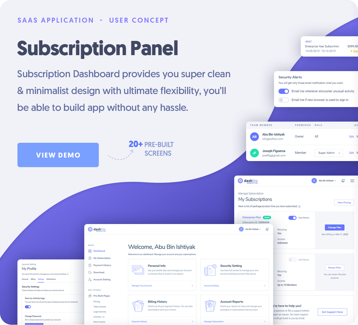 DashLite - SAAS, Subscription Application Dashboard
