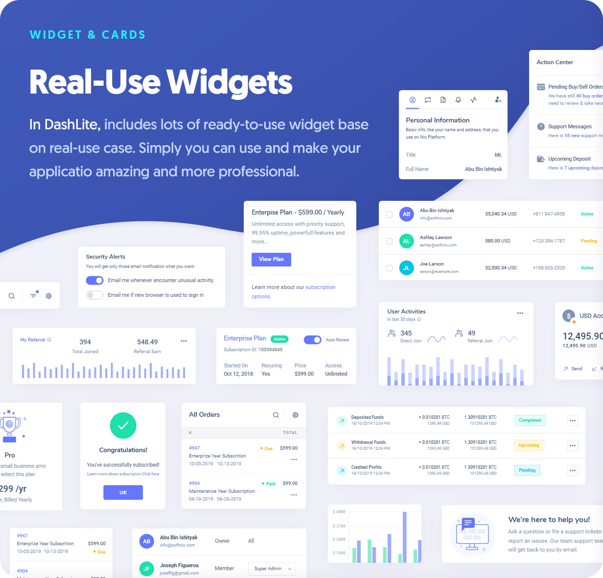 Ready to use Widgets for Dashlite Admin Dashboard Template